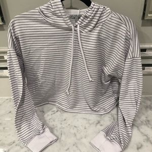 Charlotte Russe White/Black Striped Cropped Hoodie